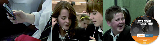 Still frame from the film 'Let's Fight it Together' of a boy at a computer.